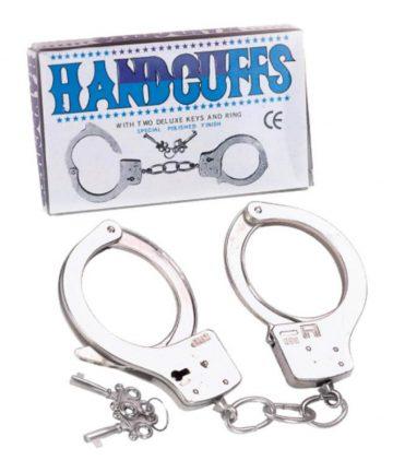 Полицейски метални белезници с ключове - Large Metal Handcuffs