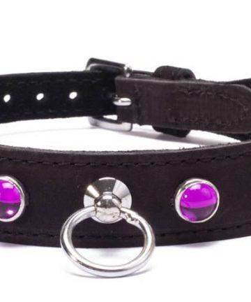 Кожен нашийник с розови кристали - Octane Crystal Collar - Hot Pink — 2