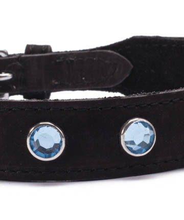 Кожен нашийник със сини кристали - Octane Crystal Collar - Light Blue — 3