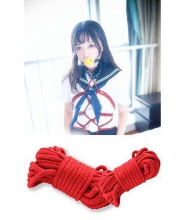 Памучено въже за робство в червен цвят 10м. - Fetish Bondage Rope Red — 4