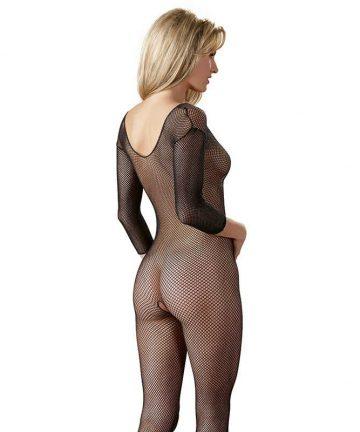 Мрежа за тяло в цял ръст с интимен отвор - Catsuit Black S/L