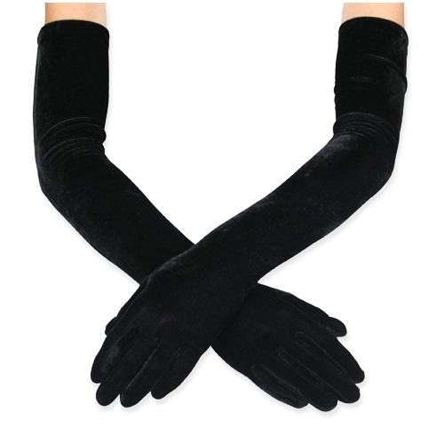 Дълги ръкавици в черен цвят